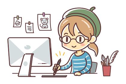 ペンタブレットを使って制作する漫画家風の女性(mac・板タブ・イラストレーター)