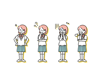 ブレザー(夏服)を着た女子学生の感情表現イラスト(全身)