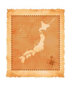 色褪せたボロボロの古地図ベクターイラスト / 日本地図