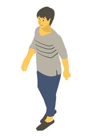 アイソメトリック図法で中性的な人物が歩いて