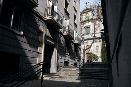 Old street with staircase in city , Madrid, Community of Madrid, Spain