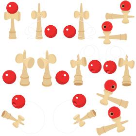 イラスト素材 けん玉 けんだま おもちゃ 玩具 ポップ パターン セット ベクター 年賀状素材