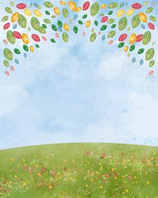 草原:丘 大地 緑 景色 青空 空 自然 背景 水彩 手描き 青空 空