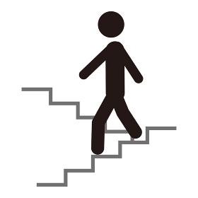 階段を降りる人