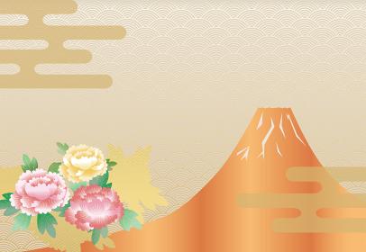 雲 牡丹 富士山の背景イラスト