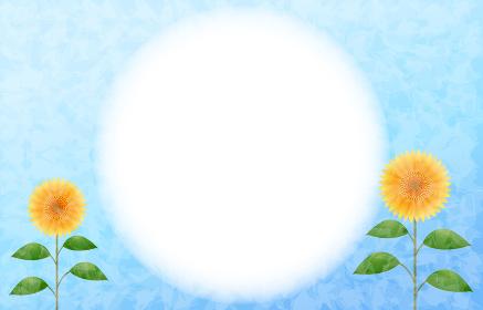 向日葵のフレームイラスト、青背景