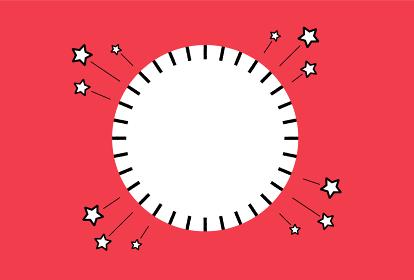 タイトル : シンプルでも目立つPRや販促に使えるフレーム素材:白いコピースペース付きの円・赤い背景