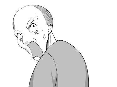 漫画風_振り向いて驚くおじいさん