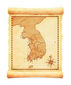 色褪せて丸まった古地図ベクターイラスト / 韓国(行政地区)