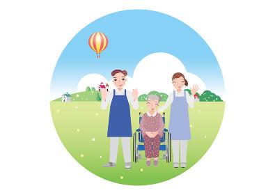 自然に豊かな場所で車椅子に乗っている老婆とサポートする男女