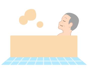 入浴する 横向き 高齢男性(線無し)