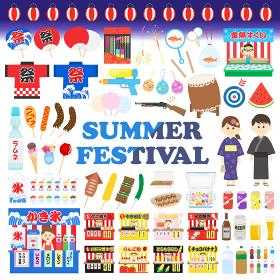 日本の夏祭りのイラストセット