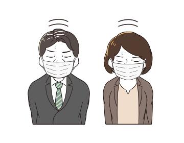 2人でマスクをつけて謝罪