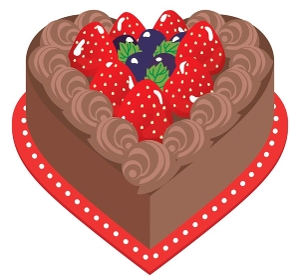 ハート形の苺のチョコレートケーキ