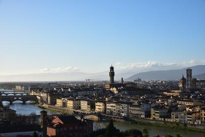 フィレンツェ、ミケランジェロ広場からの夕景、イタリア