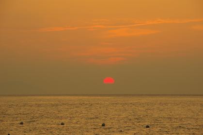 有明海と赤い太陽