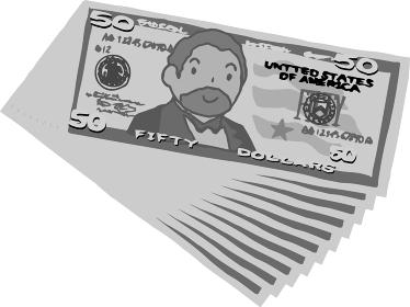 手書きのかわいい50ドル札の束 紙幣 資産家 経済