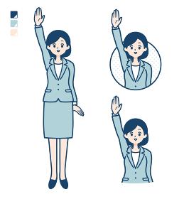simple suit business woman_raise hand