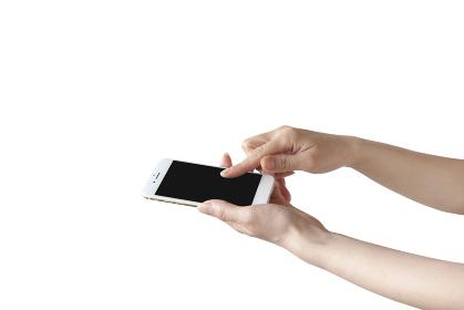 スマートフォンを持つ手 白バック