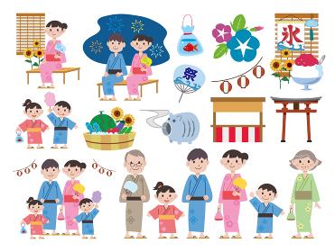 日本の夏祭り家族家族イラスト素材セット