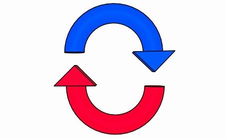 縦向きのループをイメージした赤と青の矢印の素材【黒淵アリ】
