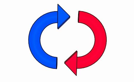 赤と青のシンプルな矢印のループ【黒淵アリ】