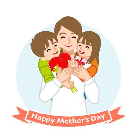 二人の子供を抱きしめる母親- 母の日コンセプトイラスト