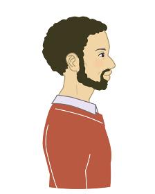髭を生やしたアフリカ系アメリカ人男性横顔