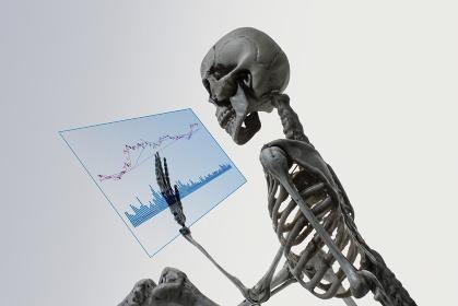 グラフを見る骸骨