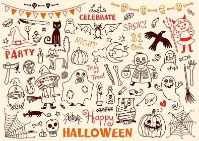 Halloween Vector Set of  Design Elements. Halloween Drawings Vector Set  of  Design Elements