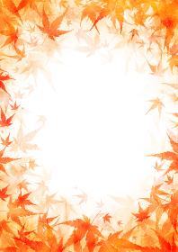 【秋のイラスト背景素材】赤い紅葉の背景画像 縦位置