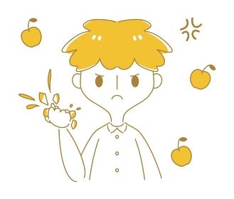怒りでりんごを握り潰す