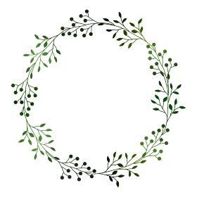 緑の小枝と実のフレームイラスト 1