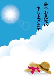 そのまま使える暑中見舞いテンプレート 青空と白い雲とペアの麦わら帽子のワンポイントのイラスト