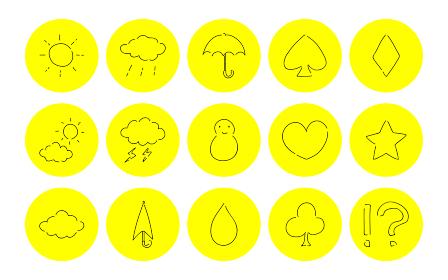 ラフな手書き風アイコンセット:天気とトランプのベクターイラスト