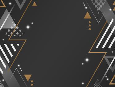 三角形の装飾フレーム・背景素材/黒・白・金