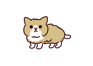 ンプルかわいい猫・マンチカンの子猫イラスト