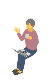 アイソメトリック図法 健康的なおばあちゃんがラップトップでリモート会話するベクターイラスト