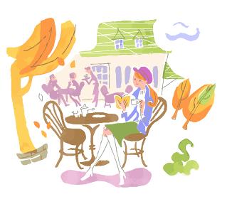 cafeで読書をする女性