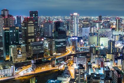 Osaka, japan, 13 September 2015:- Osaka city urban city in the evening