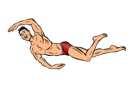 man swimmer swims. Isolate on white background