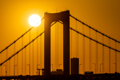レインボーブリッジと夕日