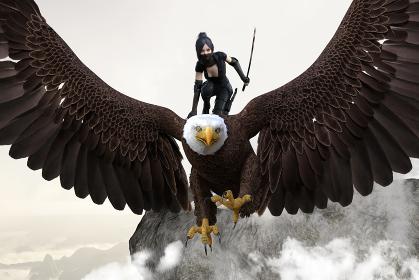迫力のある大きな鷲の背中に乗り刀を持ち顔をマスクで隠したくノ一が敵陣に空から攻め入るシーン
