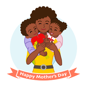 二人の子供を抱きしめる母親 アフリカ系 - 母の日コンセプトイラスト