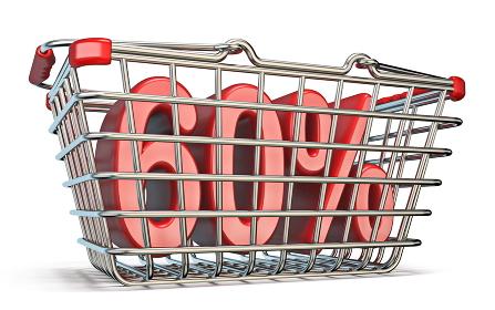 Steel shopping basket 60 PERCENT sign 3D