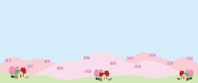 山や木々がピンクになった田舎の風景イラスト