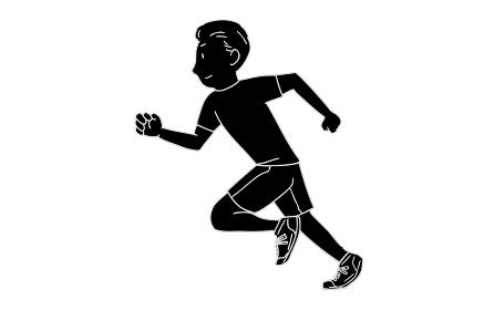 モノクロ人物素材:男性、トレーニング、走る