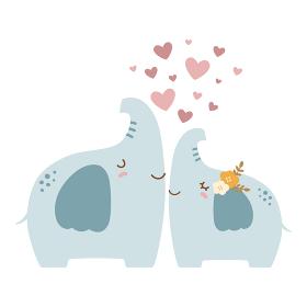 かわいいゾウのカップル