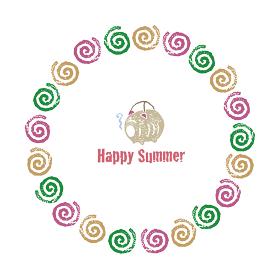 蚊取り線香のリースと豚の蚊取り線香ホルダー、暑中見舞い用夏素材