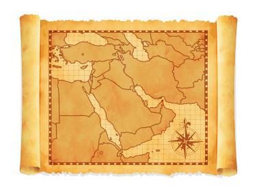色褪せて丸まった古地図ベクターイラスト / 中東・アラブ地域